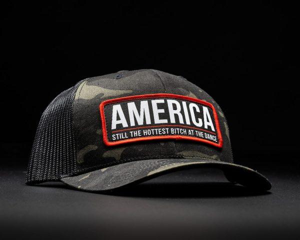 America Bitch Hat Black Multi Cam